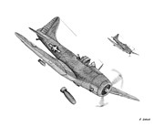 World War 2 Drawings Prints - Dauntless Dive Bomber Print by Craig Stillwell