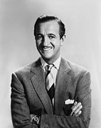 1950s Portraits Prints - David Niven, 1950s Print by Everett