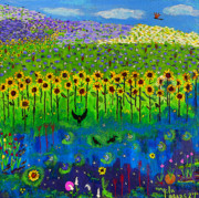 Lightning Bug Posters - Day and Night in a Sunflower Field  Poster by Angela Annas