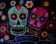 Day Of The Dead Prints - Day Of The Dead Couple Print by Pristine Cartera Turkus