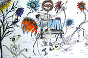 Skeletons Drawings - Day of the Dead Dog Park by Barbara Giordano