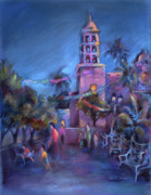 Cities Pastels Prints - Days End Print by Joan  Jones