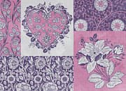 Patchwork Prints - Deco Heart Pink Print by JQ Licensing