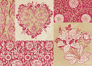 Quilting Framed Prints - Deco Heart Red Framed Print by JQ Licensing
