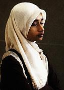 Hijab Metal Prints - Deep in thought Metal Print by Sheila Smart