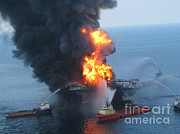 Cleanup Prints - Deepwater Horizon Fire, April 21, 2010 Print by Science Source