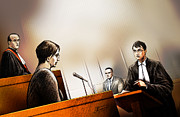 Stafford Prints - Defence Attorney Dirk Derstine at the Tori Stafford Murder Trial in London Print by Alex Tavshunsky