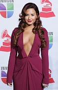 Curled Hair Art - Demi Lovato Wearing A Roland Mouret by Everett