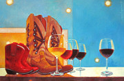 Red Wine Paintings - Denim and Diamonds by Penelope Moore