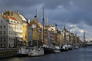Floating In Water Prints - Denmark, Copenhagen, Nyhavn, Boats Print by Keenpress
