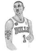 Chicago Bulls Drawings Drawings Framed Prints - Derrick Rose Framed Print by Kiyana Smith