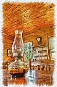 Oil Lamp Photos - Desk of the Recorder by Nicholas Evans
