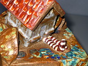 Yellow Ceramics - DETAIL House that Fell on Wicked Witch Treasure Chest by Chere Force
