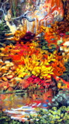 Fall Leaves Tapestries - Textiles Posters - Detail of Fall Poster by Kimberly Simon