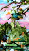 Tapestry Needle Felting Tapestries - Textiles Prints - Detail of Spring Print by Kimberly Simon