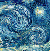Nocturne Prints - Detail of The Starry Night Print by Vincent Van Gogh