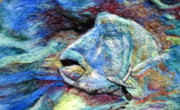 Needle Tapestries - Textiles Framed Prints - Detail of Water Framed Print by Kimberly Simon