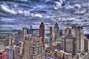 Print Card Prints - Detroit Skyline Print by Cindy Lindow