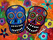Turkus Framed Prints - Dia De Los Muertos Couple Framed Print by Pristine Cartera Turkus