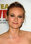 Hair Bun Photo Framed Prints - Diane Kruger At Arrivals For The Framed Print by Everett