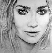 Kaelin Drawings Posters - Diane Kruger Poster by Roy Kaelin