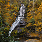 Dingmans Falls Photos - Dingmans Falls in Autumn by Stephen  Vecchiotti