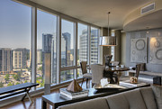 Flooring Prints - Dining Area With View of City Print by Andersen Ross