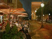 Dinner Paintings - Dinner in Paris by Anna Kowalewicz