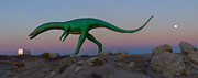 Moon Rise Posters - Dinosaur Loose on Route 66 Poster by Mike McGlothlen