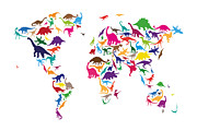 World Map Print Prints - Dinosaur Map of the World Map Print by Michael Tompsett