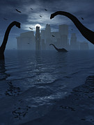 Dinosaurs Feed Near The Shores Print by Mark Stevenson