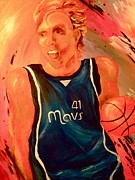 Dallas Mavs Prints - Dirk  Print by Amy Buyers