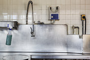 Faucet Posters - Dishwashing Station In Large Commercial Poster by Douglas Orton