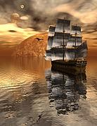 Sailing Ship Digital Art Prints - Distant Voyage 2 Print by Claude McCoy
