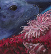 Marine Paintings - Diving among Seaweed by Kirsten Carlson