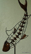 Fish Sculpture Sculpture Posters - Diving Fish Poster by Scott Russo
