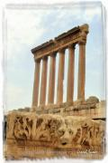 Roman Ruins Digital Art Posters - DO-00314 The 6 Corinthian Columns in Baalbeck  Poster by Digital Oil