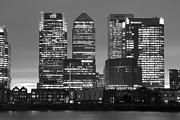 White Blocks Framed Prints - Docklands Canary Wharf sunset BW Framed Print by David French
