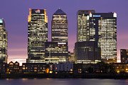 Canary Metal Prints - Docklands Canary Wharf sunset Metal Print by David French