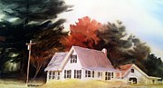 Hunting Cabin Painting Framed Prints - Docs Place Framed Print by Don F  Bradford