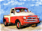 Red White And Blue Mixed Media - Dodge Truck by Russell Pierce