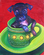 Dog Paw Print Framed Prints - Dog in Cup Framed Print by Gail Mcfarland