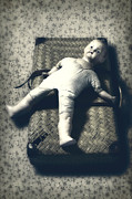 Bizarre Photo Prints - Doll With A Suitcase Print by Joana Kruse