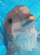 Swimming Mixed Media Posters - Dolphin Poster by Chris Butler