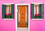 Flowerpot Photos - Doors and Windows Burano Italy by Carl Jackson