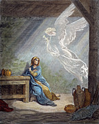 Incarnation Photo Framed Prints - DorÉ: The Annunciation Framed Print by Granger