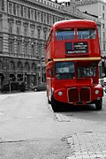 Old Street Metal Prints - Double Decker Bus Metal Print by Sophie Vigneault