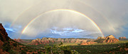 Monsoons Framed Prints - Double Rainbow Over Sedona Framed Print by David Sunfellow
