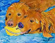 Golden Retriever Prints - Double Your Pleasure Print by Pat Saunders-White