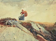 Wind Posters - Down The Cliff Poster by Winslow Homer